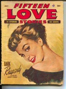 Fifteen Love Stories 7/1953-Popular-pin-up girl portrait cover-Alice Warner-N...