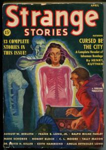 Strange Stories 4/1939-Good Girl Art-weird menace-Kuttner-Bloch-pulp-FN MINUS