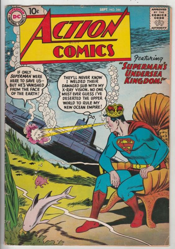 Action Comics #244 (Sep-58) FN+ Mid-High-Grade Superman, Tommy Tomorrow, Cong...