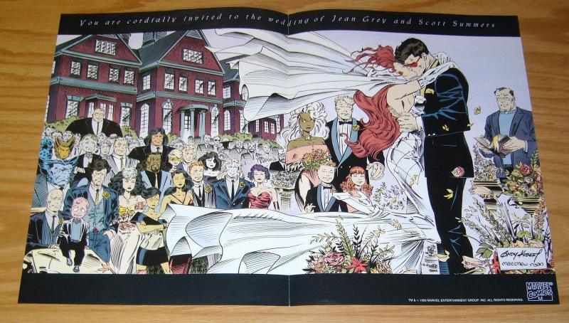 X-Men #30 promotional poster - 11 x 17 - wedding of jean grey & scott summers