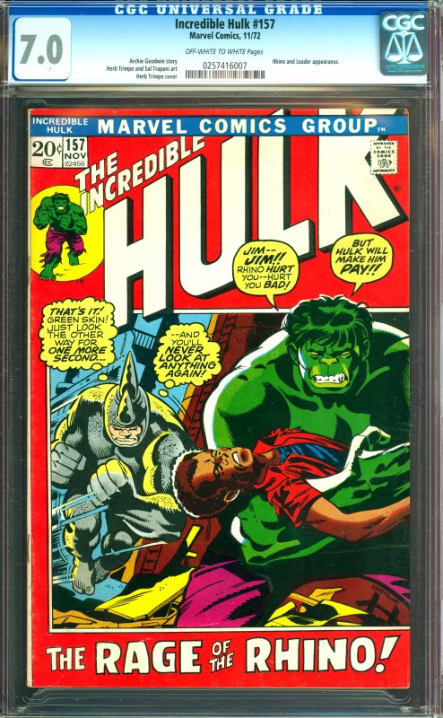 Incredible Hulk #157 CGC Graded 7.0