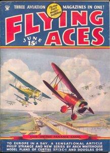 Flying Ace  6/1935-Philp Strange-hero pulp-Keyhoe-Mayshark-Kerry Keen-FN