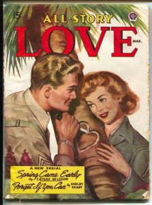 All-Story Love 3/1945-pin-up girl cover-female pulp fiction authors-WWII era iss