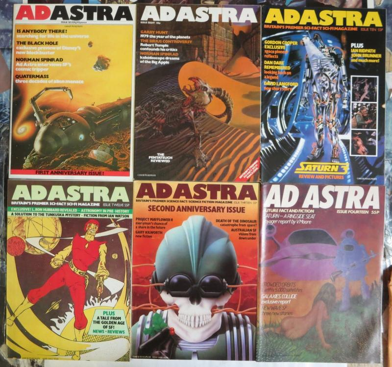 Ad Astra (Brit SFMag 11/1979 to 1/1981) #7 8 10 12-14 Spinrad,Hubbard,Talbot++++