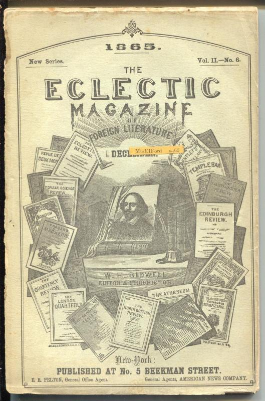 Eclectic Magazine of Foreign Literature 1865-Civil War era mag-150+ years old-FR