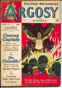 Argosy 9/13/1941-Red Star-torture cover-Theodore Roscoe-pulp stories-Sale-G-