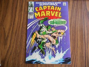 CAPTAIN MARVEL # 4 CLASSIC MARVEL SUB-MARINER FIGHT COVER HIGH GRADE BEUTIE!!