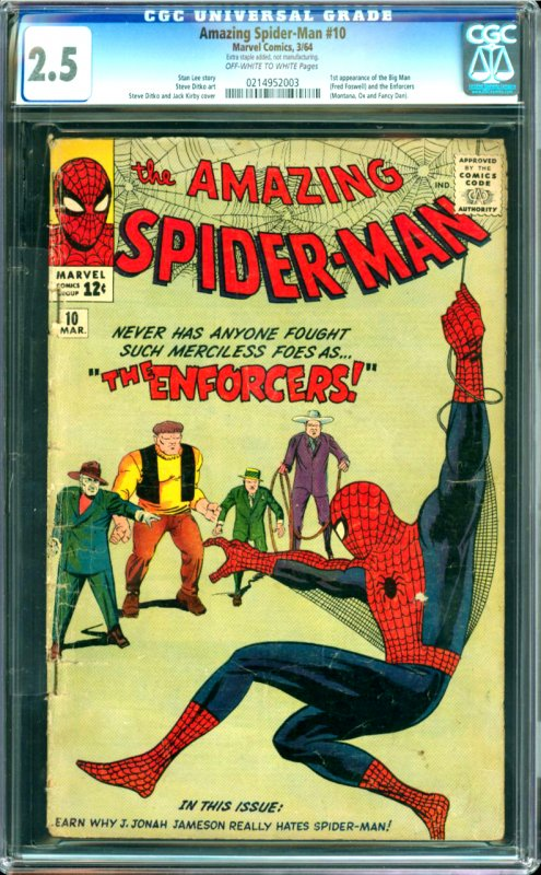 The Amazing Spider-Man #10 CGC Graded 2.5 1st appearance of the Big Man
