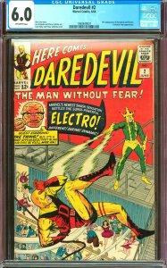 Daredevil #2 CGC Graded 6.0 2nd Daredevil & Electro
