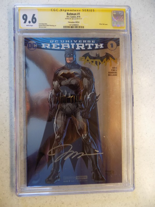 BATMAN # 1 REBIRTH FOIL CONVENTION EDITION SIGNED BY JIM LEE CGC 9.6