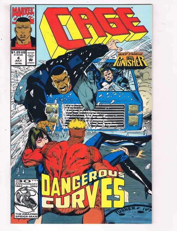 Cage #4 VF Marvel Comics Luke Cage TV Show Comic Book Punisher July 1992 DE22