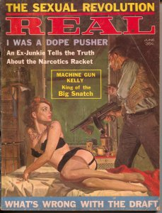 Real 6/1962-Excellent Pubs-George Gross GGA tommy gun cover-Cheesecake-VG-