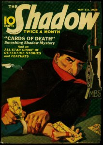 The Shadow Pulp May 1 1938- Cards of Death- Maxwell Grant FR/GD
