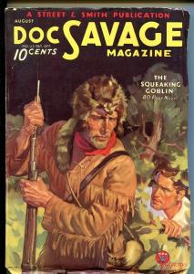 DOC SAVAGE 08/1934-18TH ISSUE-SQUEAKING GOBLIN-BAUMHOFER COVER-good+