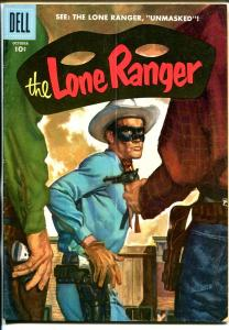Lone Ranger #100 1956-Dell-painted cover-Lone Ranger Unmasked-key issue-VG+