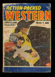 ACTION-PACKED WESTERN PULP-SEP 1955-WC TUTTLE-CARD GAME G