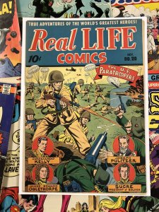 Real Life Comics #20 F/VF 7.0 10c golden age AMERICANA war paratrooper SCHOMBURG