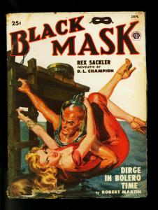 Black Mask Pulp Jan 1950- Norman Saunders cover- DL Champion- VG+