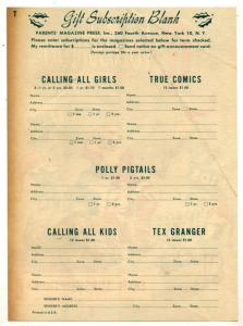 Comic Book Christmas Subscription Rate Sheet 1947
