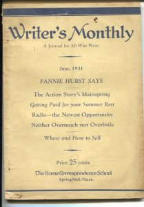 Writer's Monthly 6/1931-by pulp author Archie Joscelyn-writers info-Fannie Hu...