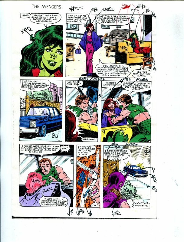 Avengers #222 1982 Hand Painted  Colorguide Page 16-She-Hulk, Hawkeye-VG