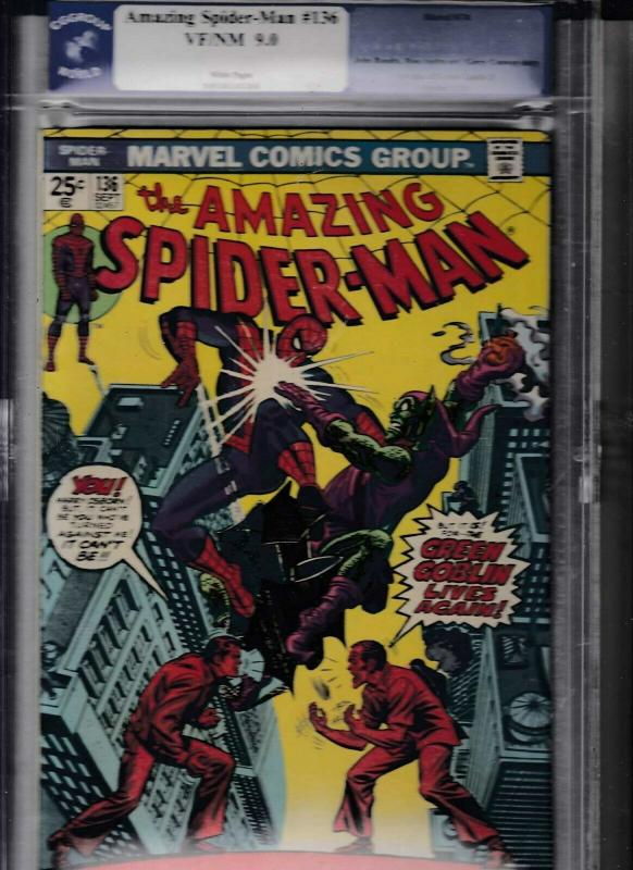 AMAZING SPIDER-MAN #136 (1974) CGG 9.0 VF/NM FIRST HARRY AS GREEN GOBLIN