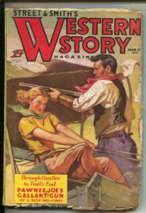 Western Story 3/21/1936-Classic Girl Art cover -Pawnee Joe's Gallant Gun by...