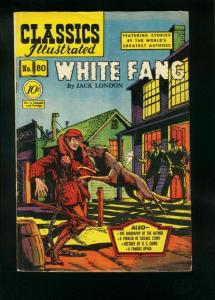CLASSICS ILLUSTRATED #80 HRN 79-WHITE FANG-JACK LONDON-ALEX BLUM-very good VG/FN