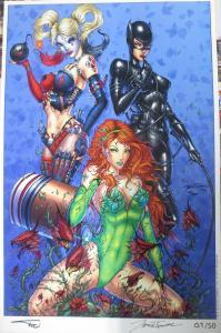 SIGNED Jamie Tyndall art Print!11x17NM Harley Quinn, Poison Ivy, Catwoman!