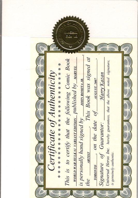 WORLD WAR HULK #1 VARIANT SIGNED ROMITA WITH COA $35.00