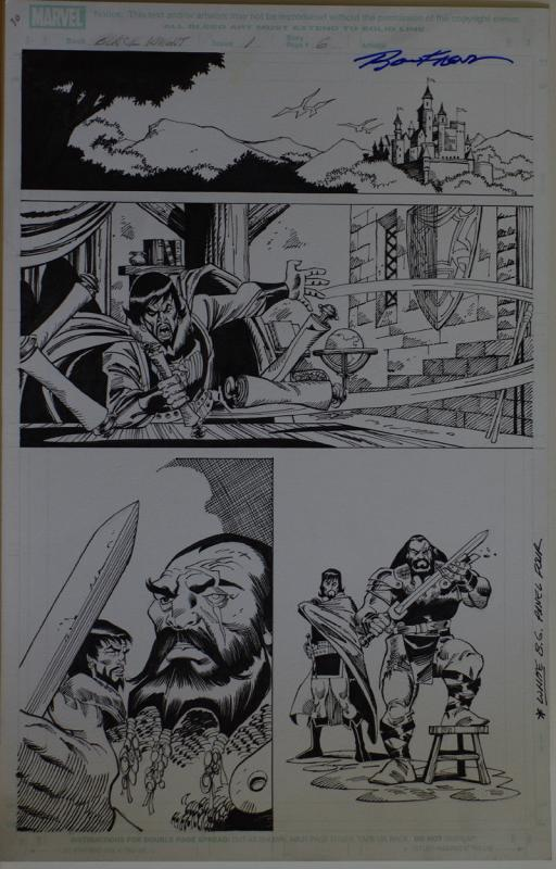RON FRENZ / SAL BUSCEMA original art, BLACK KNIGHT #1 pg 6, 2010, 11x17, Warrior