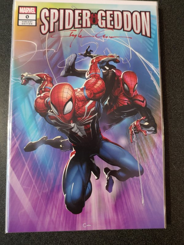 SPIDER-GEDDON #0 NYCC #1 Scorpion Comics Variant signed by Clayton Crain W/COA