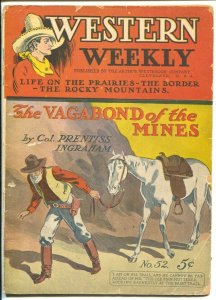 Western Weekly #52 1869-The Vagabond of The Mines-pulp fiction-VG