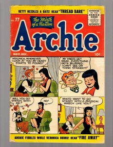 Archie Comics # 77 VG/FN Golden Age Comic Book Jughead Veronica Betty Reggie JK7