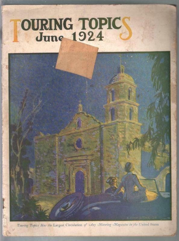 Touring Topics 6/1924-travel info-pix-illustrations-vintage cars-G/VG