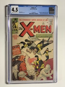 X-men 1 Cgc 4.5 Cr/ow Pages Marvel Silver Age 1st Magneto