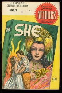 SHE-FAMOUS AUTHORS ILLUSTRATED COMIC #3 H RIDER HAGGARD FN