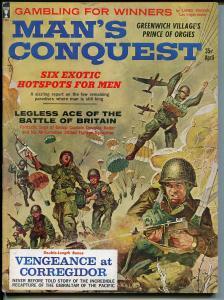 Man's Conquest 4/1962-pulp-Barbara Bouchea cheesecake-WWII parachute-FN