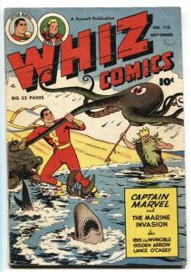 WHIZ #115 1949 FAWCETT-CAPT MARVEL-Octopus/Shark cover!