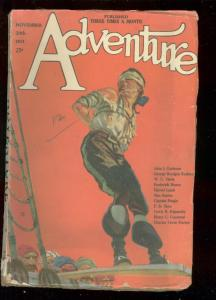 ADVENTURE PULP-NOV 20 1921-WC TUTTLE-TENSE PIRACY COVER-very good VG