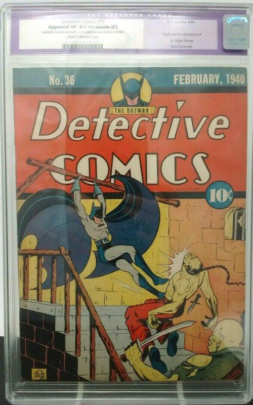 Detective Comics #36 ~ DC ~ CGC 8.0 ~ 1st Appearance & Origin of Hugo Strange