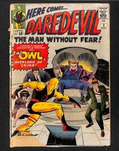 Daredevil #3 Fair 1.0 1st Owl! Marvel Comics