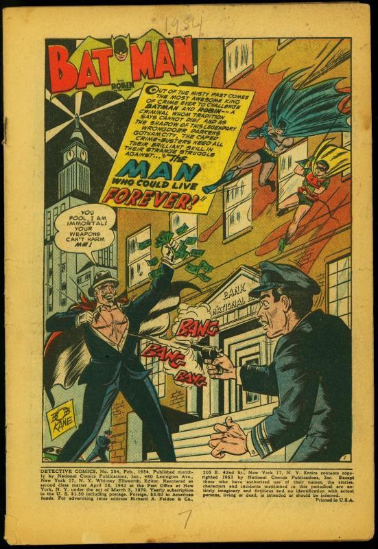 Detective Comics #204 1954- Batman- Robin- Captain Compass- Mysto reading copy