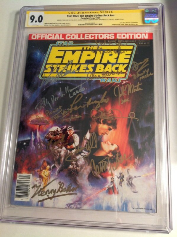 CGC SS 9.0 Star Wars The Empire Strikes Back signed Hamill, Fisher, Baker +11