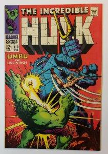 Incredible Hulk #110: Umbu The Unliving! Silver Age Marvel Comics 1968 VF