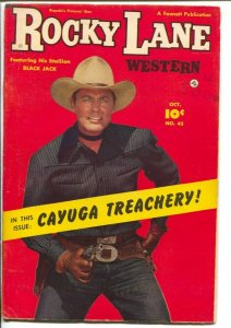 Rocky Lane Western #42-1952-Fawcett- B-Western movie star photo cover-FN