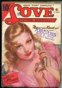 Love Fiction Monthly 10/1940-Ace-pin-up girl pulp cover-romance stories-VG