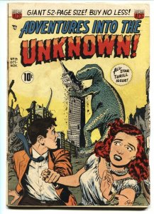 ADVENTURES INTO THE UNKNOWN #13 Godzilla like monster cover! 1950