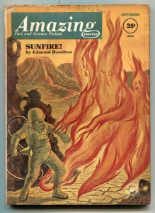Amazing Stories September 1962- Sunfire- Wild flame cover VG+