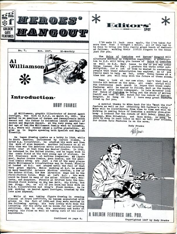 heroes hangout 7 1967 newsletter rudy franke al williamson 4 pages